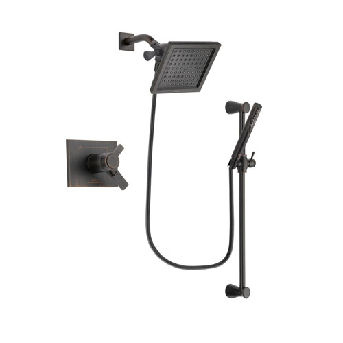 Delta Vero Venetian Bronze Finish Thermostatic Shower Faucet System Package with 6.5-inch Square Rain Showerhead and Modern Hand Shower with Slide Bar Includes Rough-in Valve DSP3152V