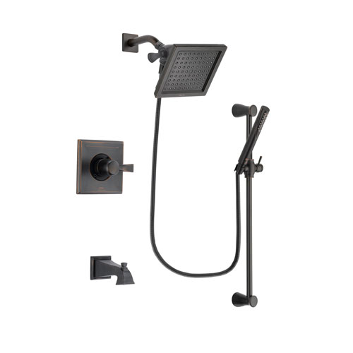 Delta Dryden Venetian Bronze Finish Tub and Shower Faucet System Package with 6.5-inch Square Rain Showerhead and Modern Hand Shower with Slide Bar Includes Rough-in Valve and Tub Spout DSP3153V