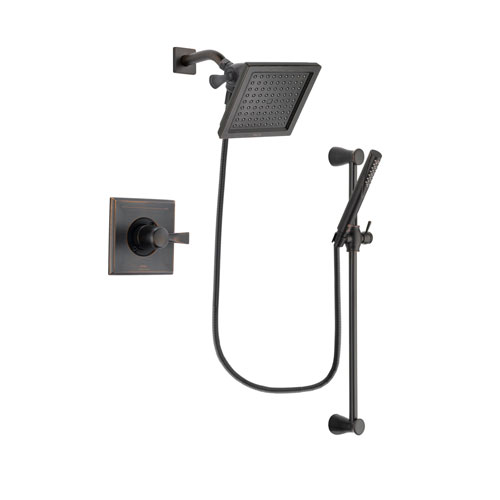 Delta Dryden Venetian Bronze Finish Shower Faucet System Package with 6.5-inch Square Rain Showerhead and Modern Hand Shower with Slide Bar Includes Rough-in Valve DSP3154V