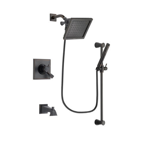 Delta Dryden Venetian Bronze Finish Dual Control Tub and Shower Faucet System Package with 6.5-inch Square Rain Showerhead and Modern Hand Shower with Slide Bar Includes Rough-in Valve and Tub Spout DSP3157V
