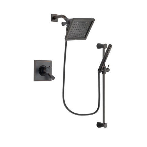 Delta Dryden Venetian Bronze Finish Dual Control Shower Faucet System Package with 6.5-inch Square Rain Showerhead and Modern Hand Shower with Slide Bar Includes Rough-in Valve DSP3158V