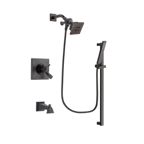Delta Dryden Venetian Bronze Finish Thermostatic Tub and Shower Faucet System Package with Square Showerhead and Modern Handheld Shower Spray with Square Slide Bar Includes Rough-in Valve and Tub Spout DSP3173V