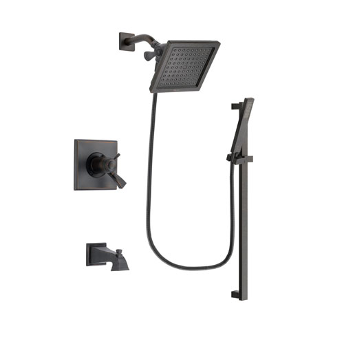 Delta Dryden Venetian Bronze Finish Thermostatic Tub and Shower Faucet System Package with 6.5-inch Square Rain Showerhead and Modern Handheld Shower Spray with Square Slide Bar Includes Rough-in Valve and Tub Spout DSP3185V