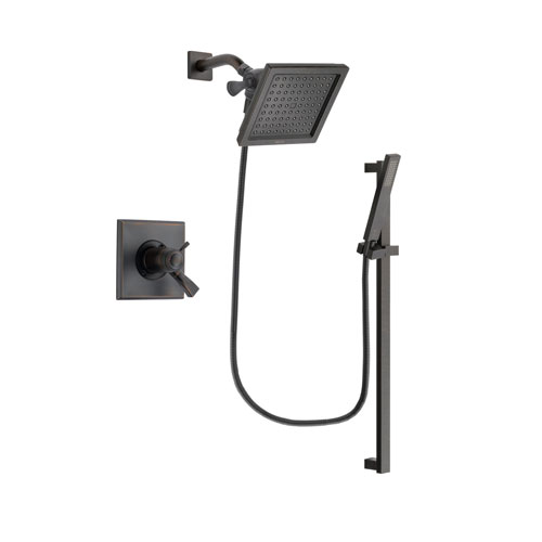 Delta Dryden Venetian Bronze Finish Thermostatic Shower Faucet System Package with 6.5-inch Square Rain Showerhead and Modern Handheld Shower Spray with Square Slide Bar Includes Rough-in Valve DSP3186V