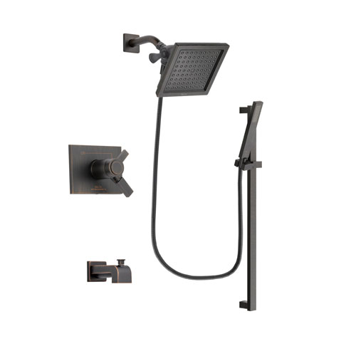Delta Vero Venetian Bronze Finish Thermostatic Tub and Shower Faucet System Package with 6.5-inch Square Rain Showerhead and Modern Handheld Shower Spray with Square Slide Bar Includes Rough-in Valve and Tub Spout DSP3187V