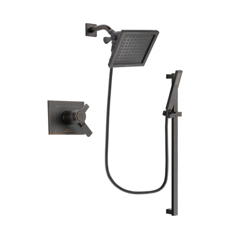 Delta Vero Venetian Bronze Finish Thermostatic Shower Faucet System Package with 6.5-inch Square Rain Showerhead and Modern Handheld Shower Spray with Square Slide Bar Includes Rough-in Valve DSP3188V