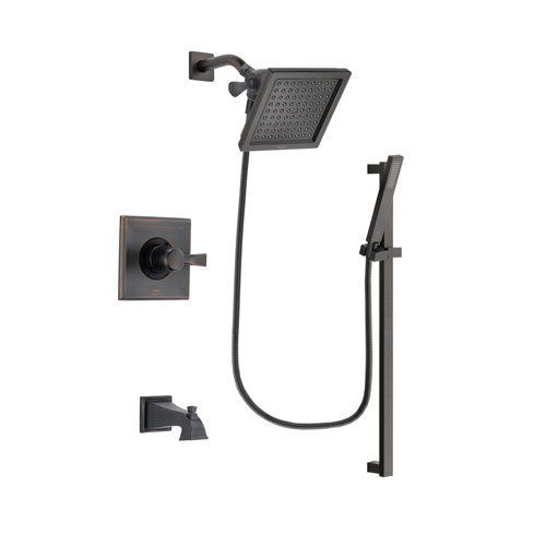 Delta Dryden Venetian Bronze Finish Tub and Shower Faucet System Package with 6.5-inch Square Rain Showerhead and Modern Handheld Shower Spray with Square Slide Bar Includes Rough-in Valve and Tub Spout DSP3189V