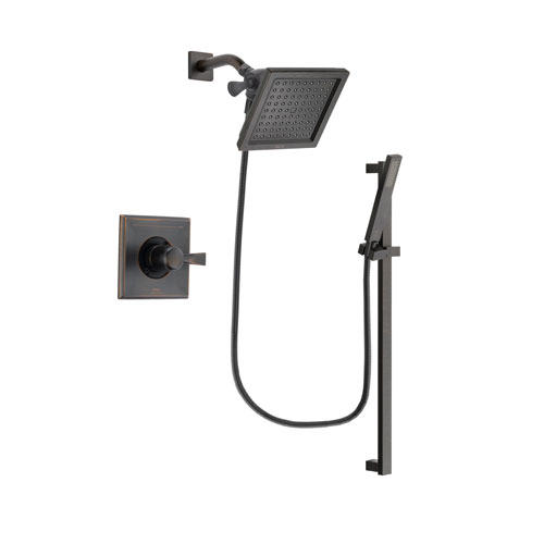 Delta Dryden Venetian Bronze Finish Shower Faucet System Package with 6.5-inch Square Rain Showerhead and Modern Handheld Shower Spray with Square Slide Bar Includes Rough-in Valve DSP3190V