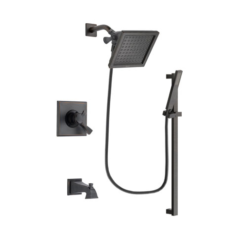 Delta Dryden Venetian Bronze Finish Dual Control Tub and Shower Faucet System Package with 6.5-inch Square Rain Showerhead and Modern Handheld Shower Spray with Square Slide Bar Includes Rough-in Valve and Tub Spout DSP3193V