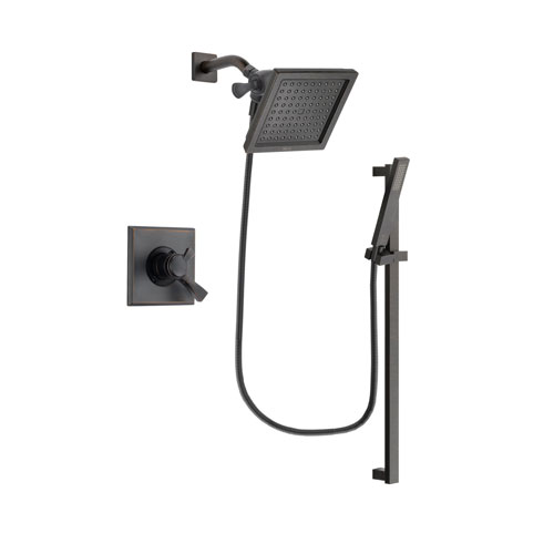 Delta Dryden Venetian Bronze Finish Dual Control Shower Faucet System Package with 6.5-inch Square Rain Showerhead and Modern Handheld Shower Spray with Square Slide Bar Includes Rough-in Valve DSP3194V