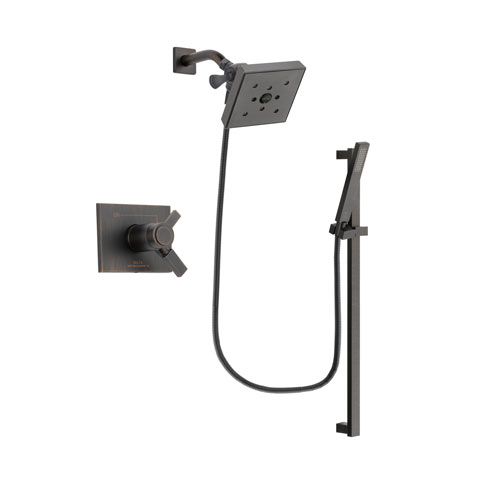 Delta Vero Venetian Bronze Finish Thermostatic Shower Faucet System Package with Square Shower Head and Modern Handheld Shower Spray with Square Slide Bar Includes Rough-in Valve DSP3200V