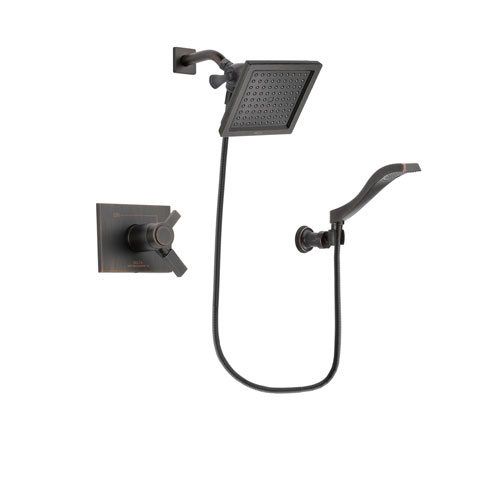 Delta Vero Venetian Bronze Finish Thermostatic Shower Faucet System Package with 6.5-inch Square Rain Showerhead and Modern Wall Mount Handheld Shower Spray Includes Rough-in Valve DSP3224V