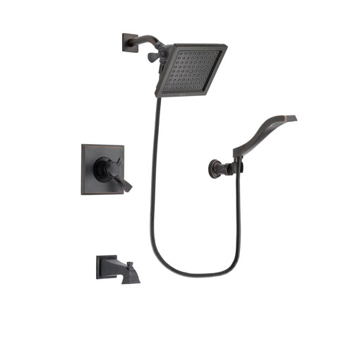Delta Dryden Venetian Bronze Finish Dual Control Tub and Shower Faucet System Package with 6.5-inch Square Rain Showerhead and Modern Wall Mount Handheld Shower Spray Includes Rough-in Valve and Tub Spout DSP3229V
