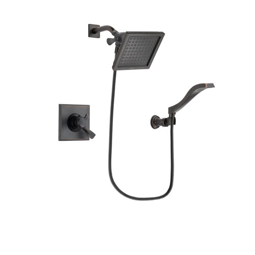 Delta Dryden Venetian Bronze Finish Dual Control Shower Faucet System Package with 6.5-inch Square Rain Showerhead and Modern Wall Mount Handheld Shower Spray Includes Rough-in Valve DSP3230V