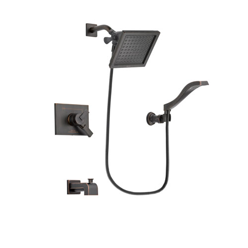 Delta Vero Venetian Bronze Finish Dual Control Tub and Shower Faucet System Package with 6.5-inch Square Rain Showerhead and Modern Wall Mount Handheld Shower Spray Includes Rough-in Valve and Tub Spout DSP3231V