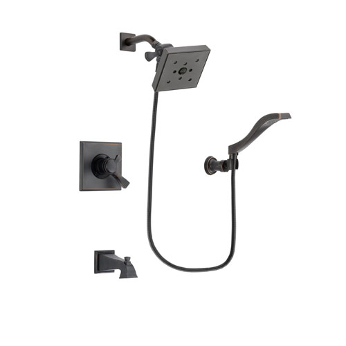 Delta Dryden Venetian Bronze Finish Dual Control Tub and Shower Faucet System Package with Square Shower Head and Modern Wall Mount Handheld Shower Spray Includes Rough-in Valve and Tub Spout DSP3241V
