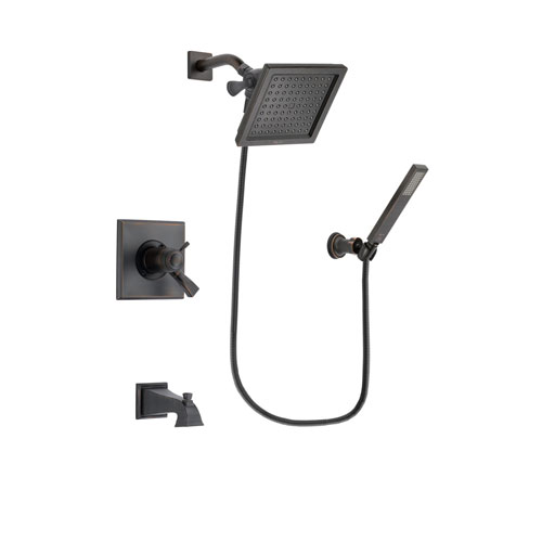 Delta Dryden Venetian Bronze Finish Thermostatic Tub and Shower Faucet System Package with 6.5-inch Square Rain Showerhead and Modern Wall-Mount Handheld Shower Stick Includes Rough-in Valve and Tub Spout DSP3257V