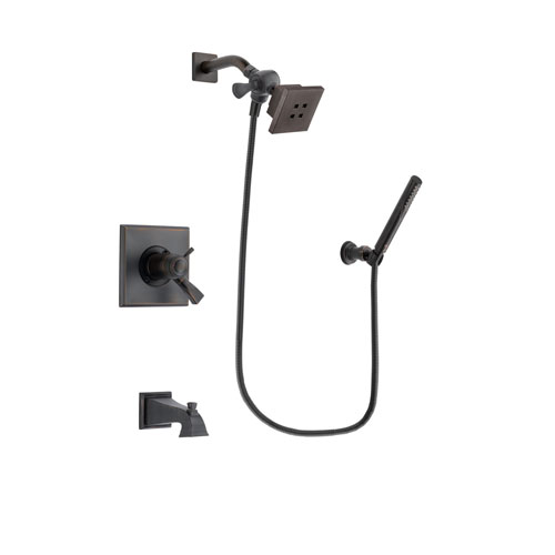 Delta Dryden Venetian Bronze Finish Thermostatic Tub and Shower Faucet System Package with Square Showerhead and Cylindrical Wall-Mount Handheld Shower Stick Includes Rough-in Valve and Tub Spout DSP3281V