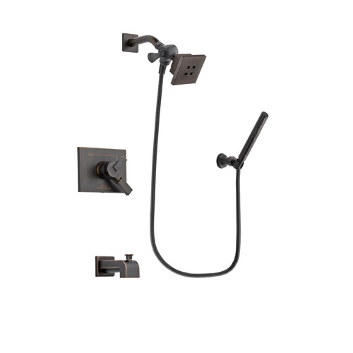 Delta Vero Venetian Bronze Finish Dual Control Tub and Shower Faucet System Package with Square Showerhead and Cylindrical Wall-Mount Handheld Shower Stick Includes Rough-in Valve and Tub Spout DSP3291V