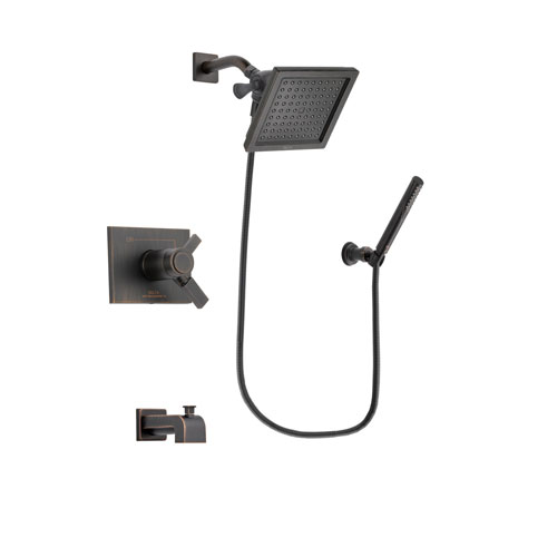 Delta Vero Venetian Bronze Finish Thermostatic Tub and Shower Faucet System Package with 6.5-inch Square Rain Showerhead and Cylindrical Wall-Mount Handheld Shower Stick Includes Rough-in Valve and Tub Spout DSP3295V