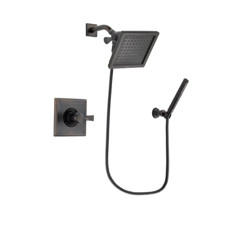 Delta Dryden Venetian Bronze Finish Shower Faucet System Package with 6.5-inch Square Rain Showerhead and Cylindrical Wall-Mount Handheld Shower Stick Includes Rough-in Valve DSP3298V