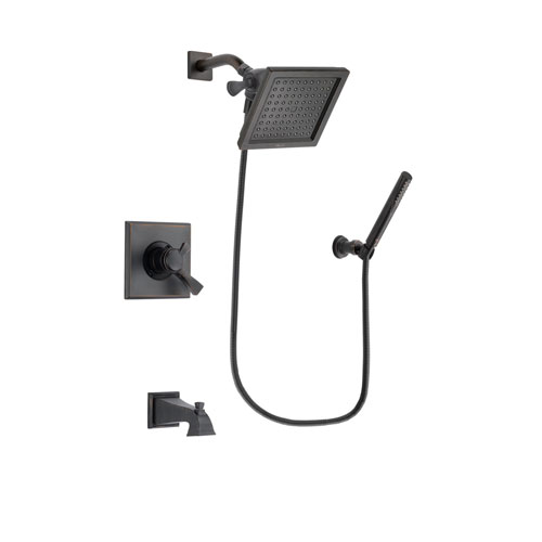 Delta Dryden Venetian Bronze Finish Dual Control Tub and Shower Faucet System Package with 6.5-inch Square Rain Showerhead and Cylindrical Wall-Mount Handheld Shower Stick Includes Rough-in Valve and Tub Spout DSP3301V