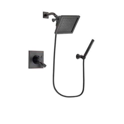 Delta Dryden Venetian Bronze Finish Dual Control Shower Faucet System Package with 6.5-inch Square Rain Showerhead and Cylindrical Wall-Mount Handheld Shower Stick Includes Rough-in Valve DSP3302V