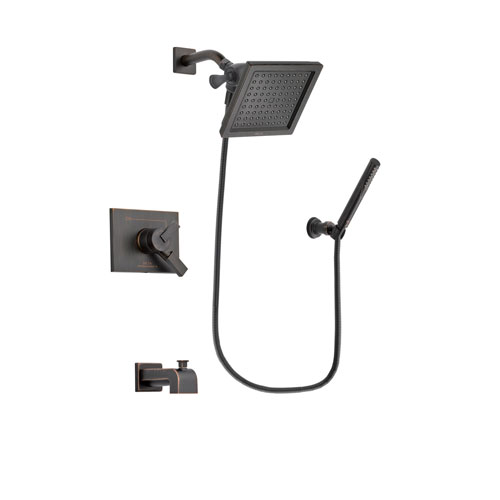 Delta Vero Venetian Bronze Finish Dual Control Tub and Shower Faucet System Package with 6.5-inch Square Rain Showerhead and Cylindrical Wall-Mount Handheld Shower Stick Includes Rough-in Valve and Tub Spout DSP3303V