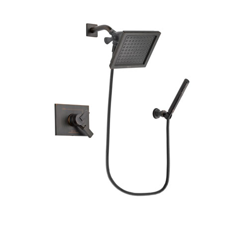 Delta Vero Venetian Bronze Finish Dual Control Shower Faucet System Package with 6.5-inch Square Rain Showerhead and Cylindrical Wall-Mount Handheld Shower Stick Includes Rough-in Valve DSP3304V