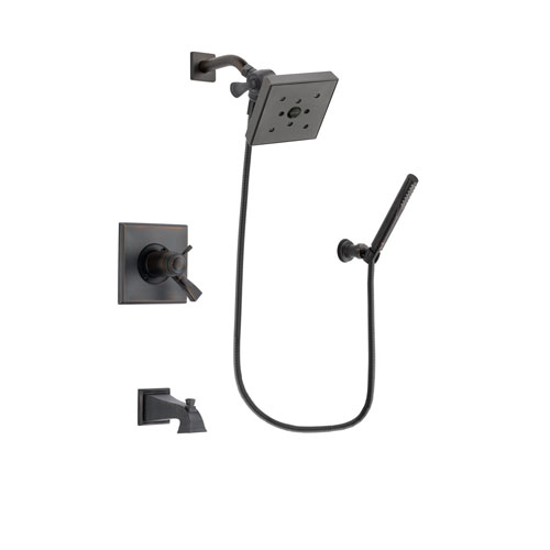 Delta Dryden Venetian Bronze Finish Thermostatic Tub and Shower Faucet System Package with Square Shower Head and Cylindrical Wall-Mount Handheld Shower Stick Includes Rough-in Valve and Tub Spout DSP3305V