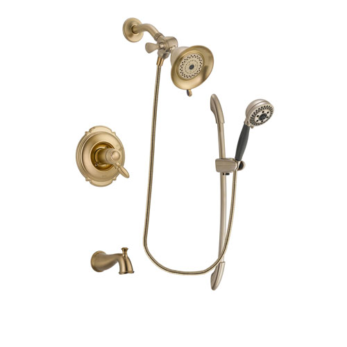 Delta Victorian Champagne Bronze Finish Thermostatic Tub and Shower Faucet System Package with Water-Efficient Shower Head and 5-Spray Handshower with Slide Bar Includes Rough-in Valve and Tub Spout DSP3319V