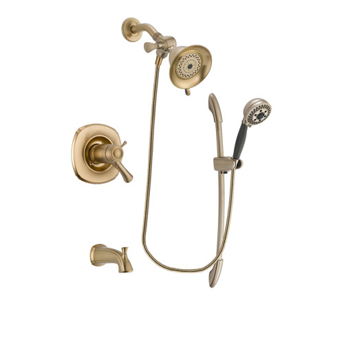 Delta Addison Champagne Bronze Finish Thermostatic Tub and Shower Faucet System Package with Water-Efficient Shower Head and 5-Spray Handshower with Slide Bar Includes Rough-in Valve and Tub Spout DSP3321V