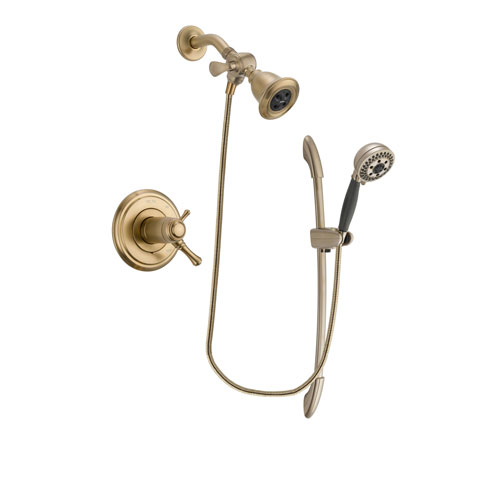 Delta Cassidy Champagne Bronze Finish Thermostatic Shower Faucet System Package with Water Efficient Showerhead and 5-Spray Handshower with Slide Bar Includes Rough-in Valve DSP3350V