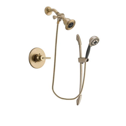 Delta Trinsic Champagne Bronze Finish Shower Faucet System Package with Water Efficient Showerhead and 5-Spray Handshower with Slide Bar Includes Rough-in Valve DSP3354V