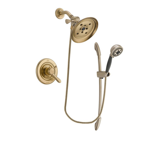 Delta Lahara Champagne Bronze Finish Dual Control Shower Faucet System Package with Large Rain Shower Head and 5-Spray Handshower with Slide Bar Includes Rough-in Valve DSP3386V