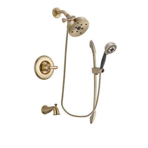 Delta Linden Champagne Bronze Finish Tub and Shower Faucet System Package with 5-1/2 inch Showerhead and 5-Spray Handshower with Slide Bar Includes Rough-in Valve and Tub Spout DSP3409V