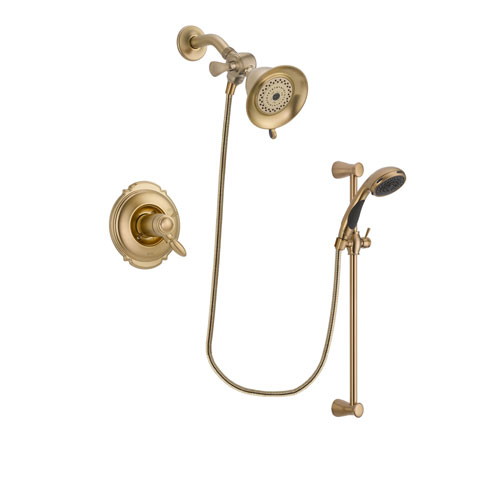 Delta Victorian Champagne Bronze Finish Thermostatic Shower Faucet System Package with Water-Efficient Shower Head and Personal Handheld Shower Sprayer with Slide Bar Includes Rough-in Valve DSP3424V