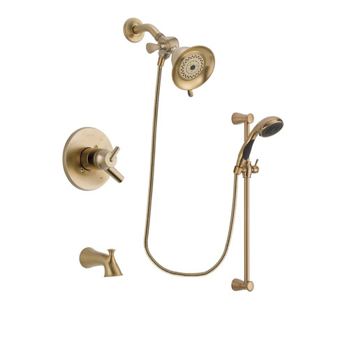 Delta Trinsic Champagne Bronze Finish Dual Control Tub and Shower Faucet System Package with Water-Efficient Shower Head and Personal Handheld Shower Sprayer with Slide Bar Includes Rough-in Valve and Tub Spout DSP3439V