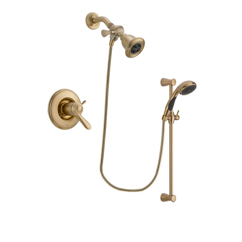 Delta Lahara Champagne Bronze Finish Thermostatic Shower Faucet System Package with Water Efficient Showerhead and Personal Handheld Shower Sprayer with Slide Bar Includes Rough-in Valve DSP3448V