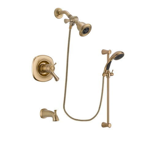 Delta Addison Champagne Bronze Finish Thermostatic Tub and Shower Faucet System Package with Water Efficient Showerhead and Personal Handheld Shower Sprayer with Slide Bar Includes Rough-in Valve and Tub Spout DSP3451V