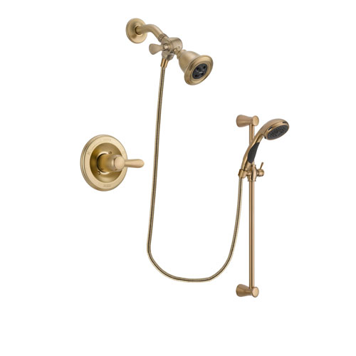 Delta Lahara Champagne Bronze Finish Shower Faucet System Package with Water Efficient Showerhead and Personal Handheld Shower Sprayer with Slide Bar Includes Rough-in Valve DSP3456V