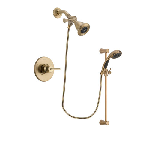Delta Trinsic Champagne Bronze Finish Shower Faucet System Package with Water Efficient Showerhead and Personal Handheld Shower Sprayer with Slide Bar Includes Rough-in Valve DSP3458V