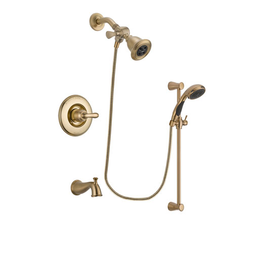 Delta Linden Champagne Bronze Finish Tub and Shower Faucet System Package with Water Efficient Showerhead and Personal Handheld Shower Sprayer with Slide Bar Includes Rough-in Valve and Tub Spout DSP3461V