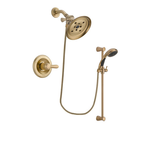 Delta Lahara Champagne Bronze Finish Shower Faucet System Package with Large Rain Shower Head and Personal Handheld Shower Sprayer with Slide Bar Includes Rough-in Valve DSP3482V