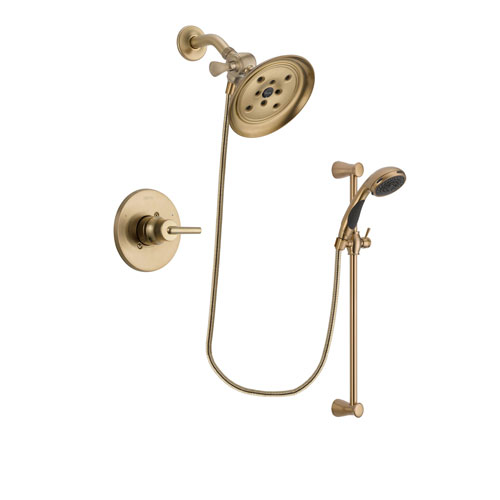 Delta Trinsic Champagne Bronze Finish Shower Faucet System Package with Large Rain Shower Head and Personal Handheld Shower Sprayer with Slide Bar Includes Rough-in Valve DSP3484V