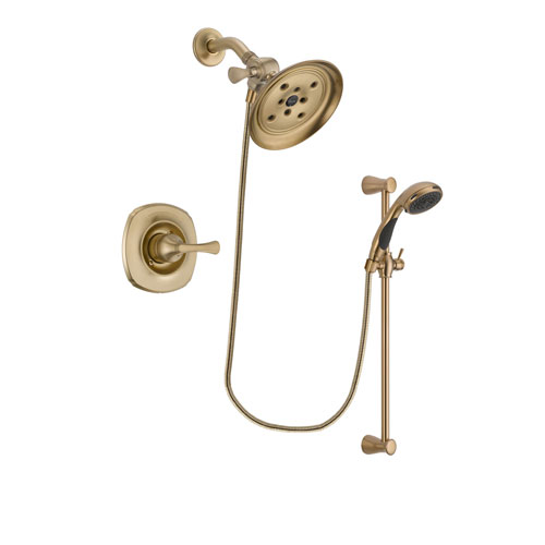 Delta Addison Champagne Bronze Finish Shower Faucet System Package with Large Rain Shower Head and Personal Handheld Shower Sprayer with Slide Bar Includes Rough-in Valve DSP3486V