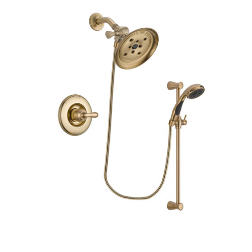 Delta Linden Champagne Bronze Finish Shower Faucet System Package with Large Rain Shower Head and Personal Handheld Shower Sprayer with Slide Bar Includes Rough-in Valve DSP3488V