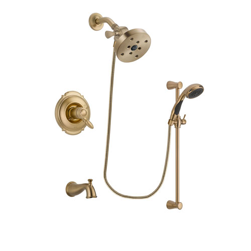 Delta Victorian Champagne Bronze Finish Thermostatic Tub and Shower Faucet System Package with 5-1/2 inch Showerhead and Personal Handheld Shower Sprayer with Slide Bar Includes Rough-in Valve and Tub Spout DSP3501V
