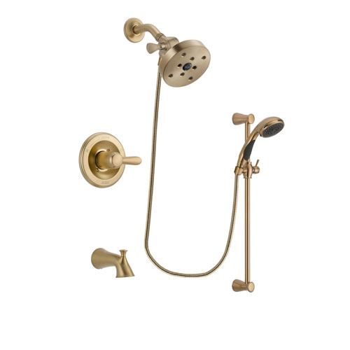 Delta Lahara Champagne Bronze Finish Tub and Shower Faucet System Package with 5-1/2 inch Showerhead and Personal Handheld Shower Sprayer with Slide Bar Includes Rough-in Valve and Tub Spout DSP3507V