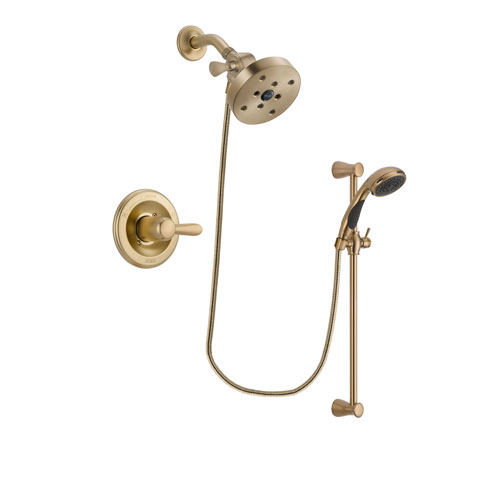 Delta Lahara Champagne Bronze Finish Shower Faucet System Package with 5-1/2 inch Showerhead and Personal Handheld Shower Sprayer with Slide Bar Includes Rough-in Valve DSP3508V